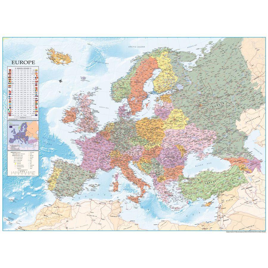 XXL Europakarte mit Flaggen - Premium Poster vom Profi ...