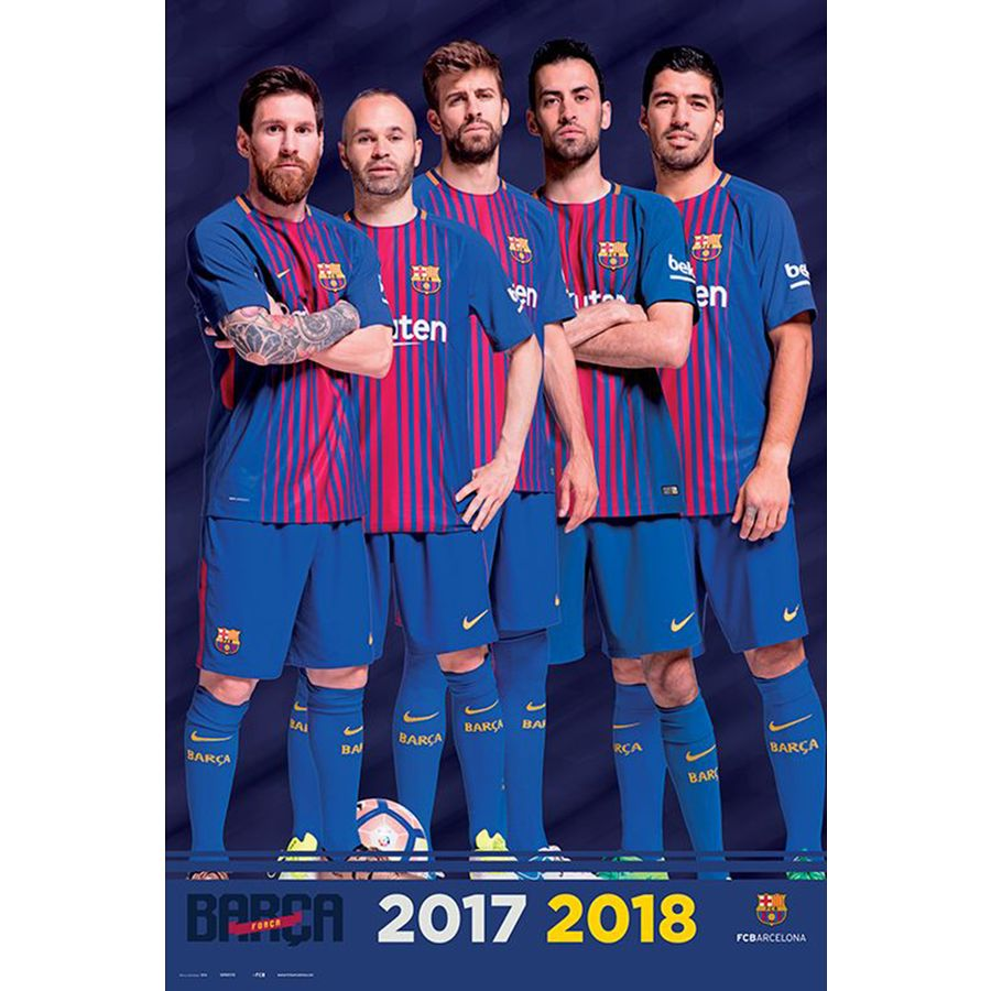 fc barcelona poster team season 2017 2018 posters buy now in the shop close up gmbh. Black Bedroom Furniture Sets. Home Design Ideas