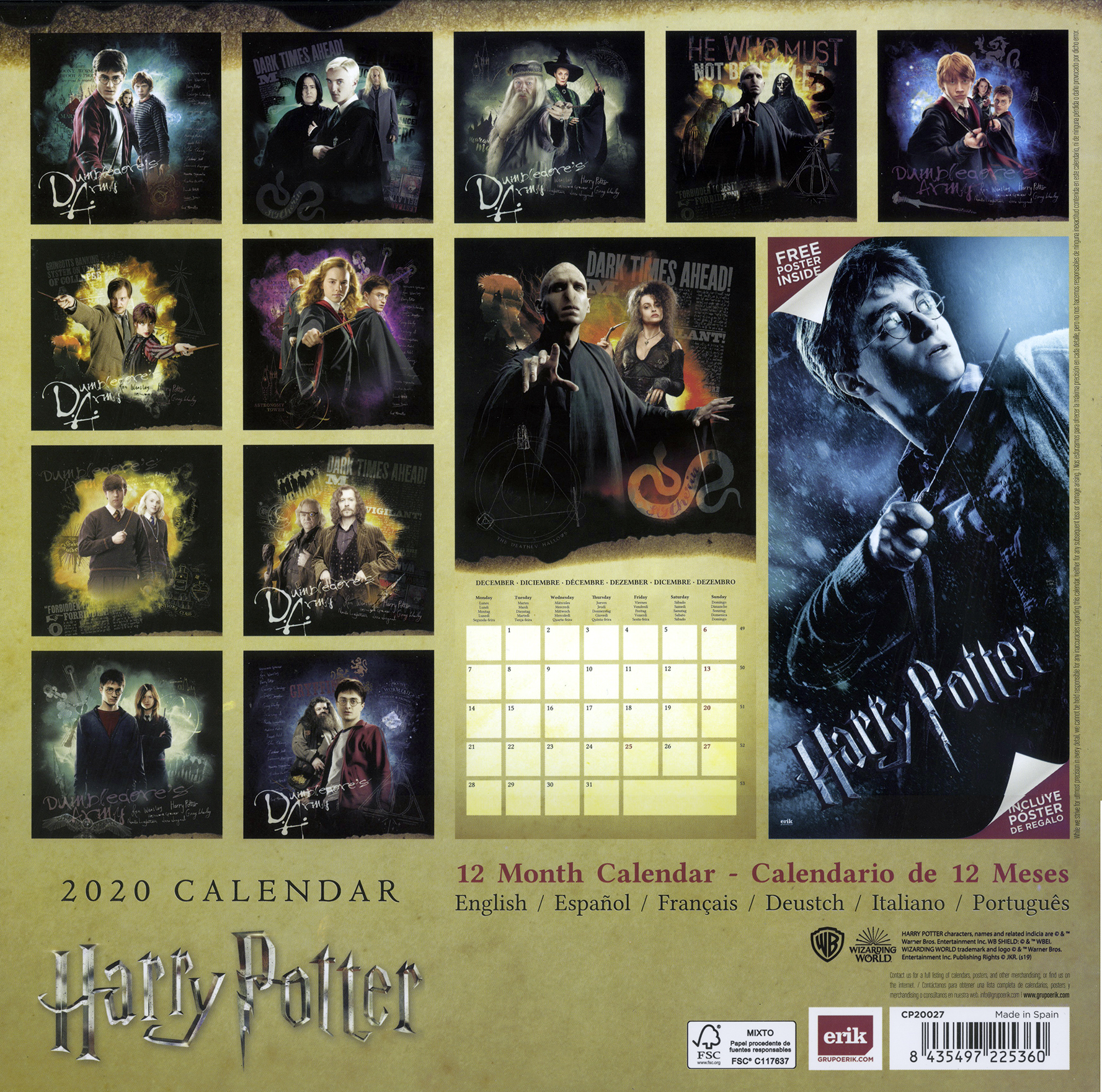 Calendario Harry Potter.Harry Potter Calendar 2020