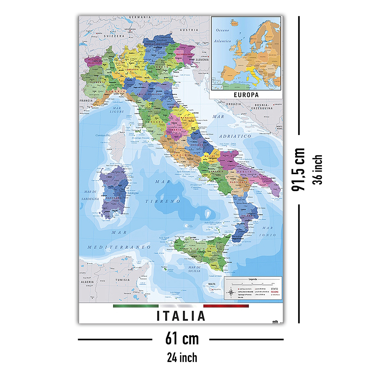 Mappa Italia Fisico Politico Map Of Italy Posters Buy Now In The Shop Close Up Gmbh