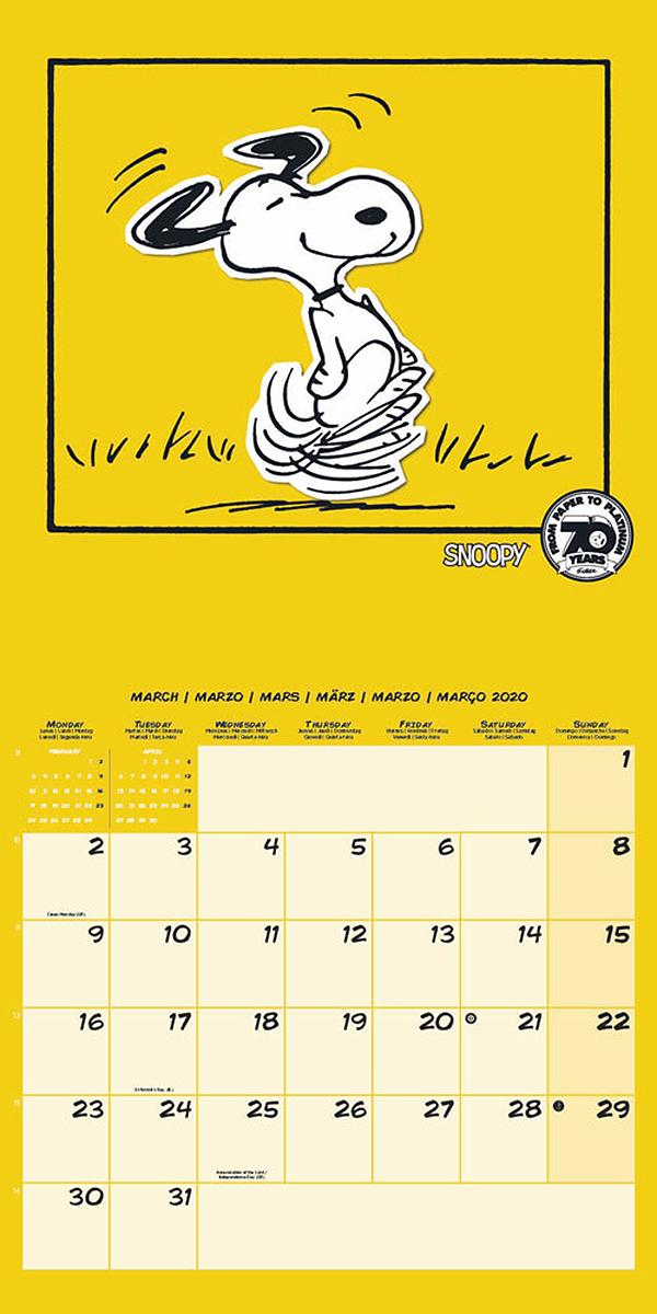 Calendario Snoopy 2020.Peanuts Snoopy Calendar 2020