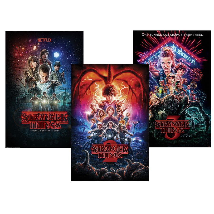 Stranger Things Poster Set Of 3 Season 1 2 And 3 Posters Buy Now In The Shop Close Up Gmbh Netflix unveiled character posters for the highly anticipated stranger things 3, which premieres july 4 on the streaming service. usd
