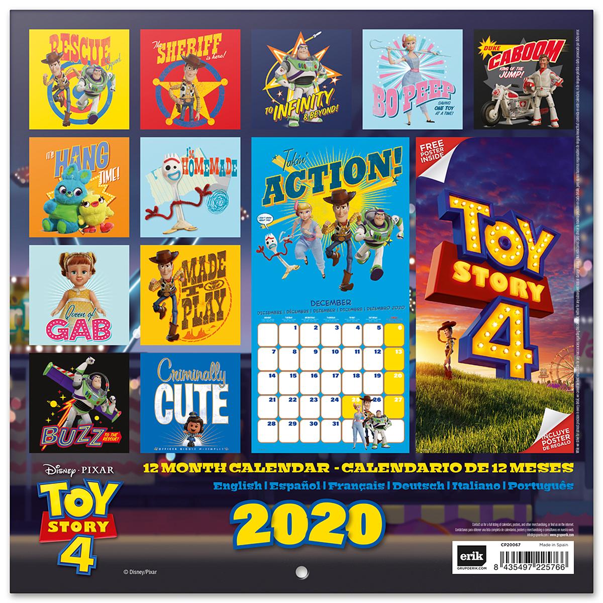 Poster Calendario 2020.Toy Story 4 Calendar 2020