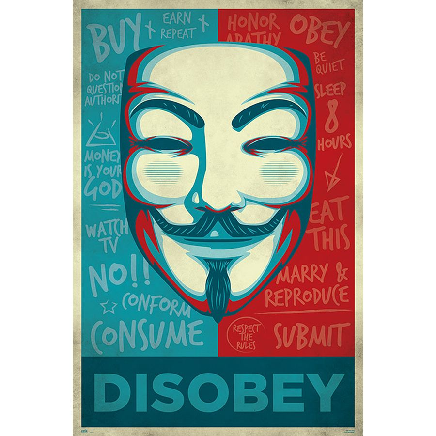 V For Vendetta Poster Mask Disobey Posters Buy Now In The Shop