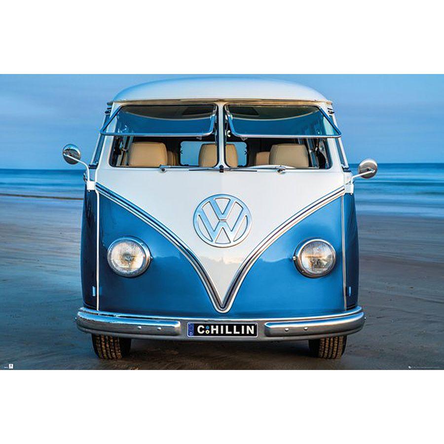 8451acdde316b9 VW Camper Van Poster Bulli Brendan Ray Blue Kombi - Posters buy now ...
