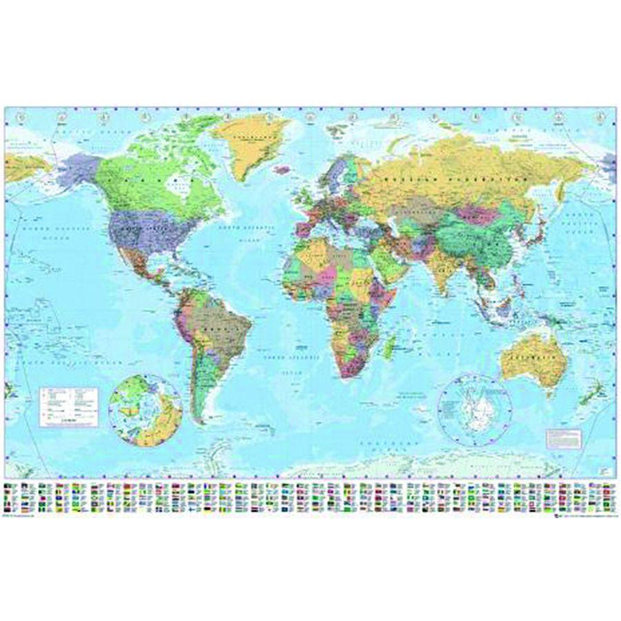 Weltkarte Poster Flaggen 91,5 x 61 cm
