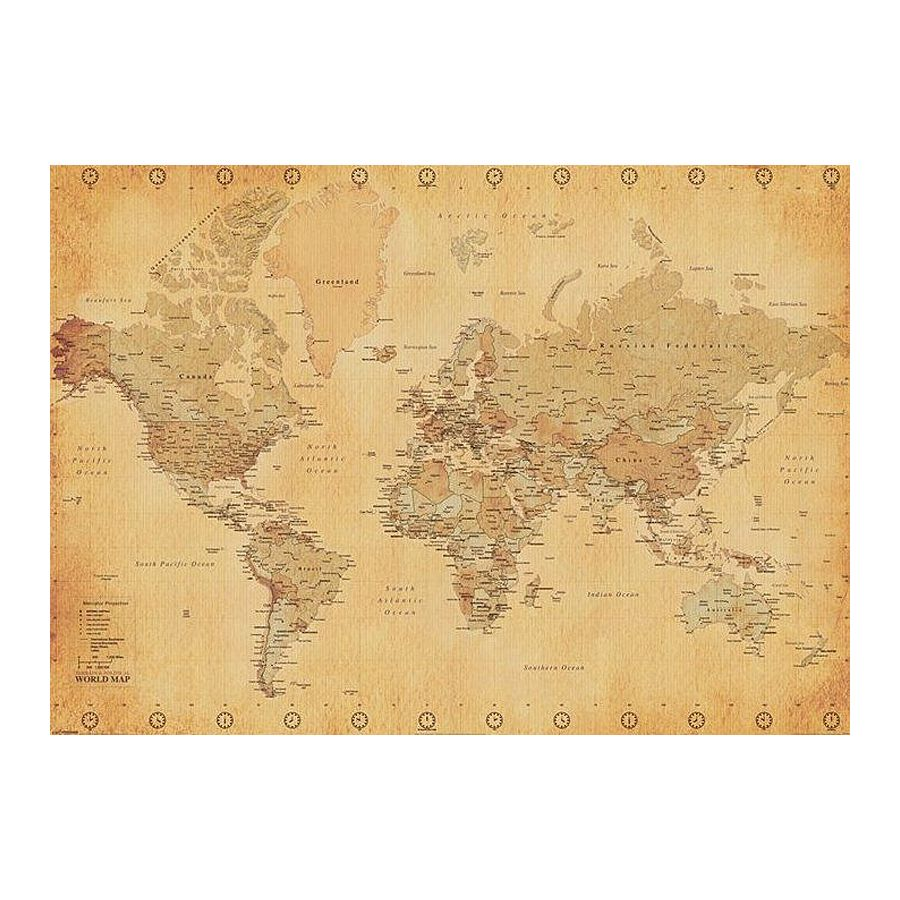 World Map Xxl Poster World Map Vintage Style Giant Posters Buy