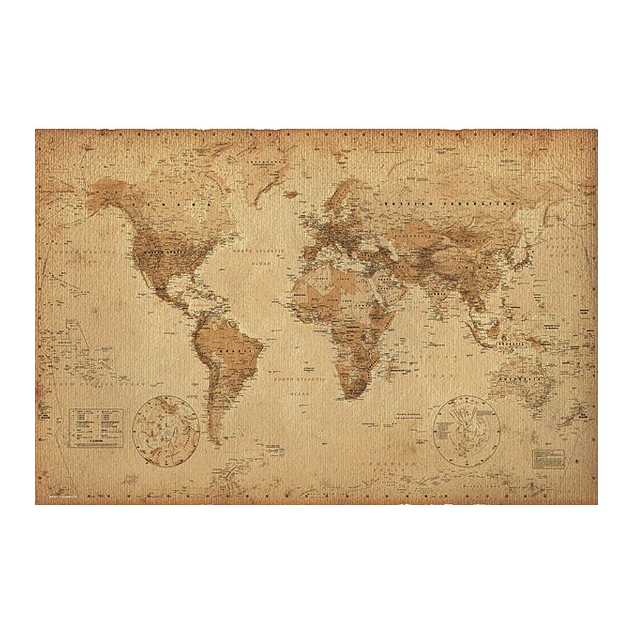 World map vintage style posters buy now in the shop close up gmbh world map vintage style gumiabroncs Gallery
