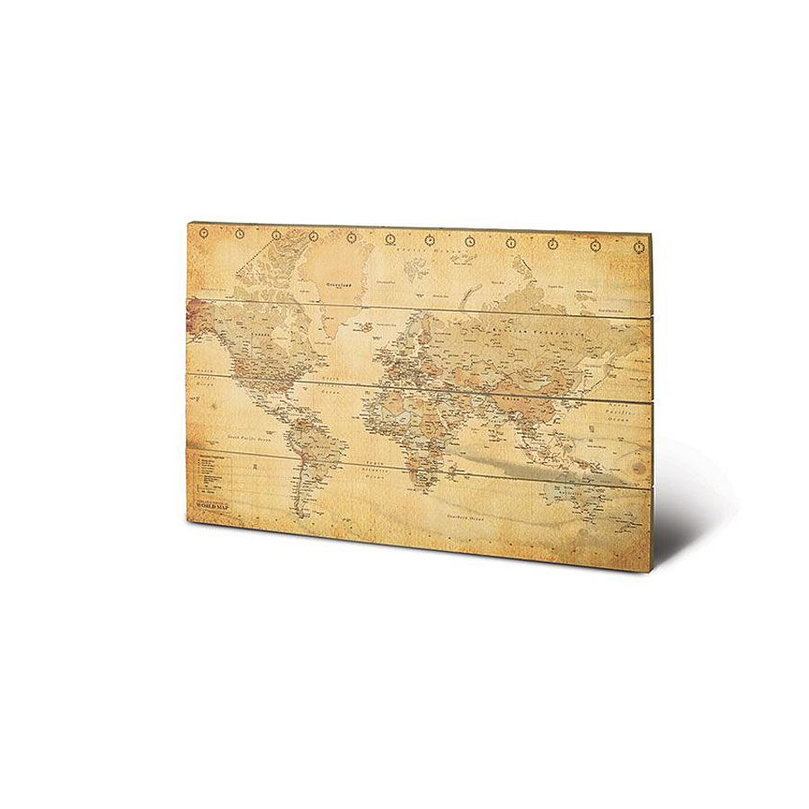 World map Antic Wooden Wall Art - Holz- und Leinwanddrucke buy now ...