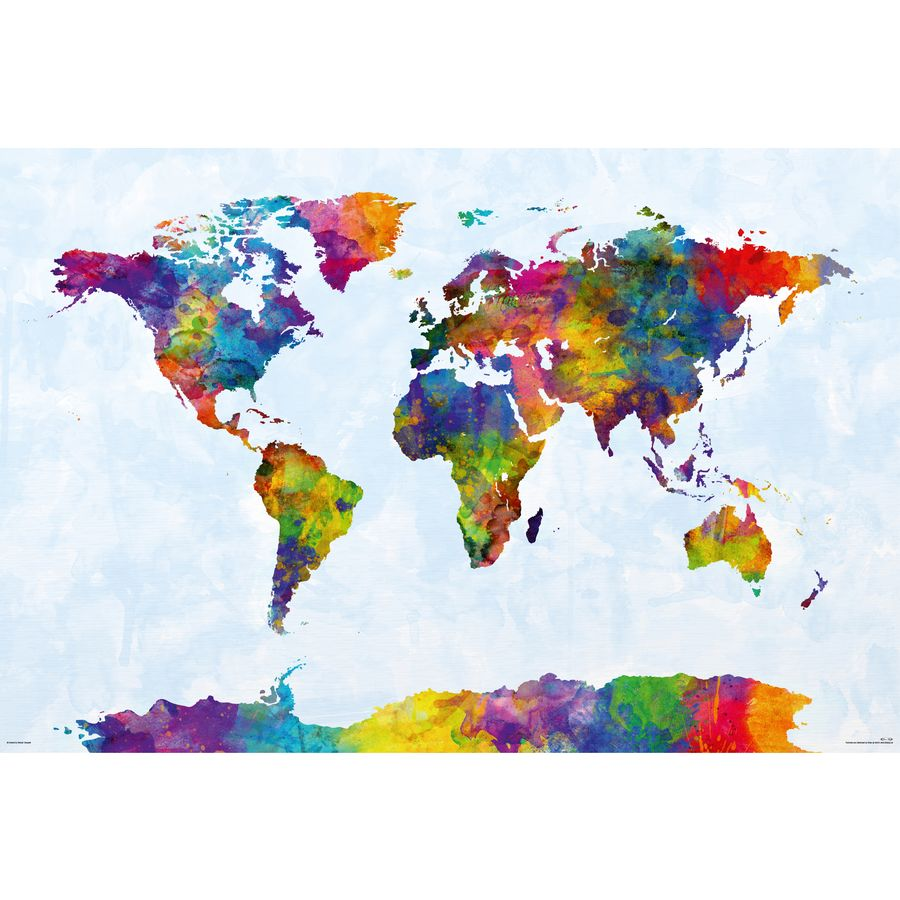 Watercolor world map poster michael tompsett on close up watercolor world map poster gumiabroncs Choice Image