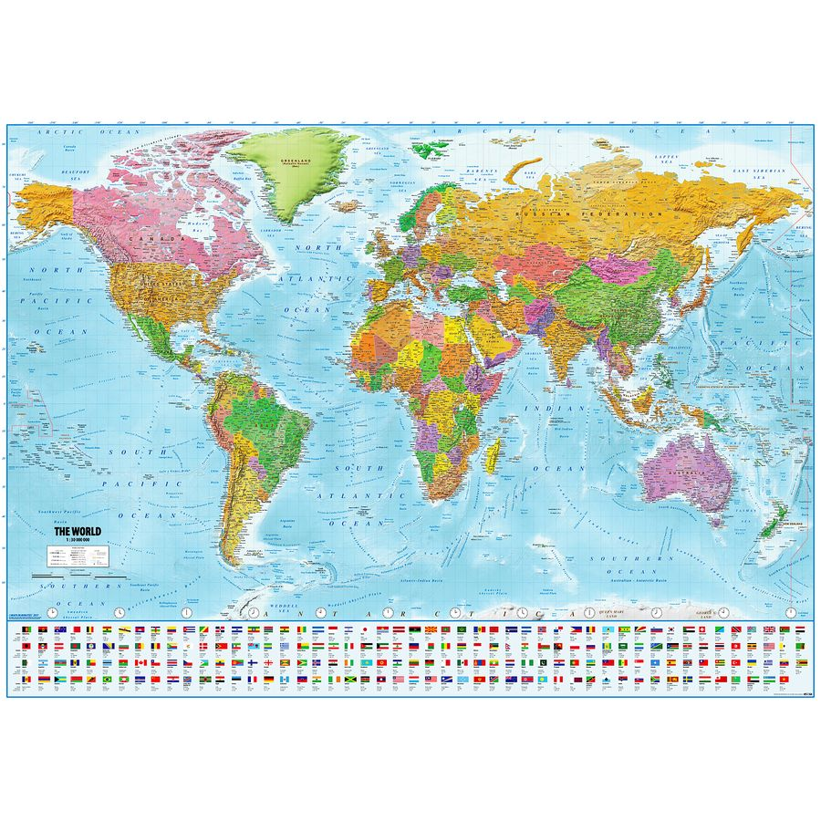 Map Of The World With Flags Xxl Poster Version 2019 On Close Up