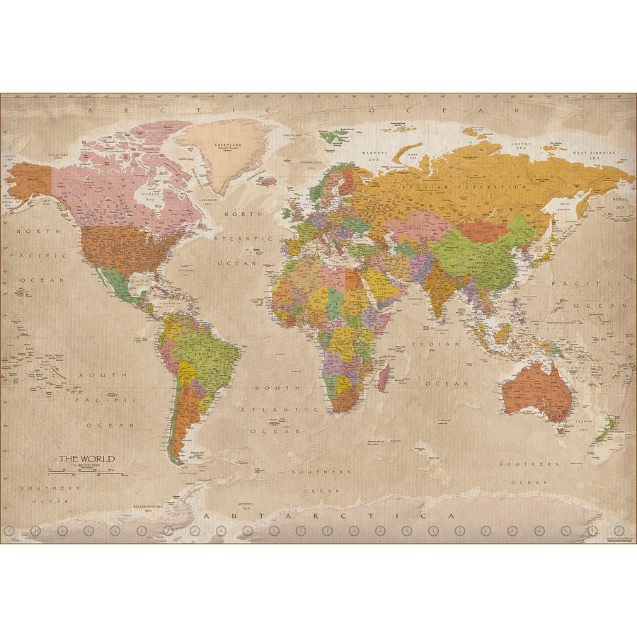 World Map XXL Poster Vintage MAPS IN MINUTES Giant Posters - Buy giant world map
