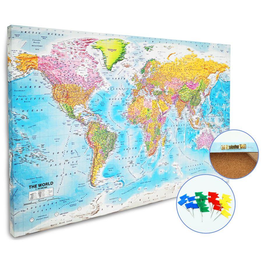 Pinnwand Weltkarte Xl Mit 12 Markierfahnchen Kork 90x60 Cm