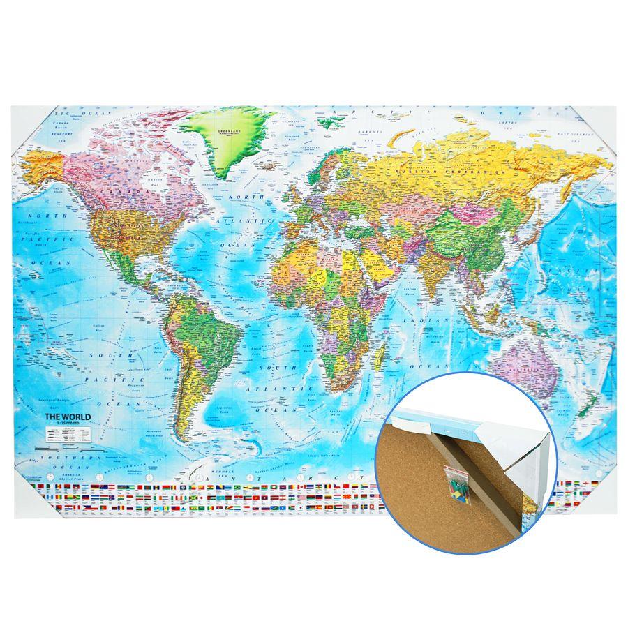 Pinnwand weltkarte xxl mit 12 markierfhnchen kork 120x80 cm world map pin board xxl 2018 maps in minutes gumiabroncs Image collections