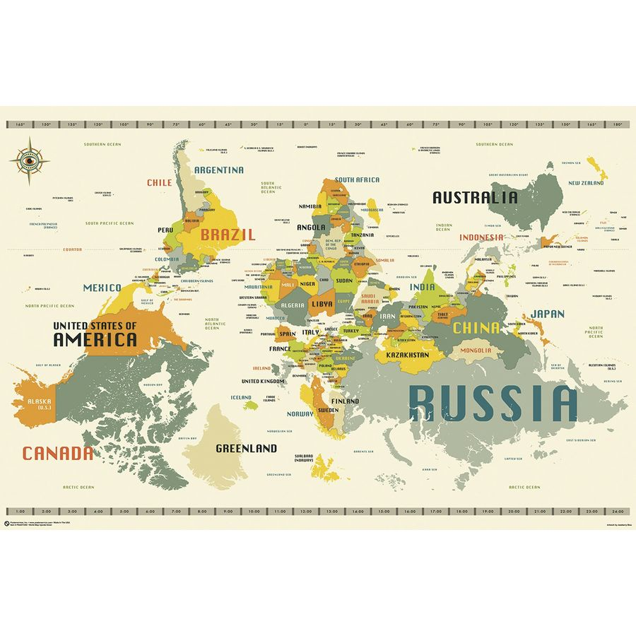 World map upside down poster by jazzberry blue posters buy now in world map upside down poster gumiabroncs Gallery